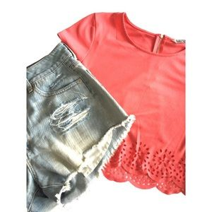 🌸4for$30 Bluenotes Coral Crop Top